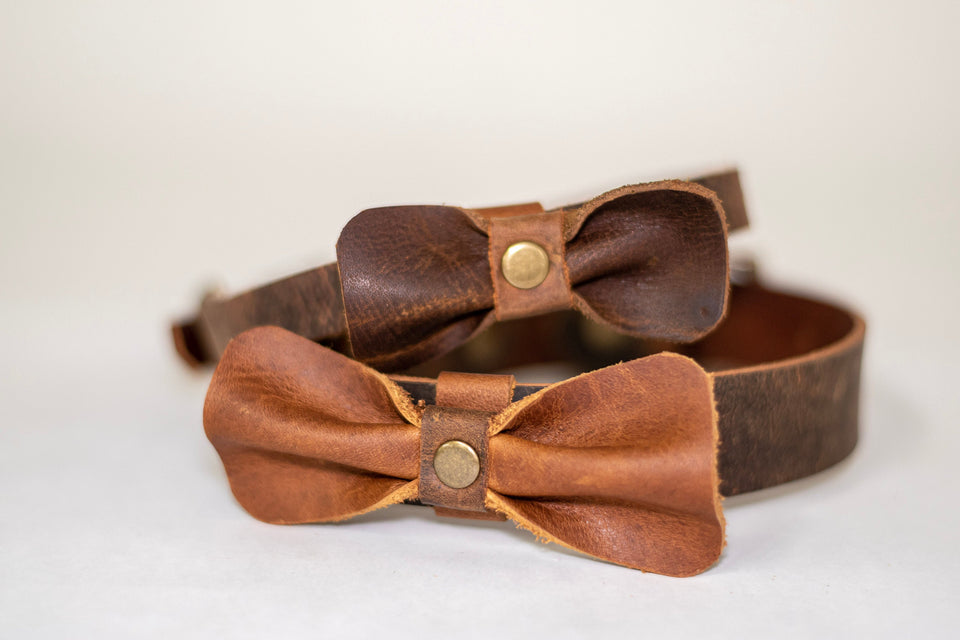 Leather Dog Collar | Adjustable Pet Collar | Leather Dog Bow Tie | Personalized Collar