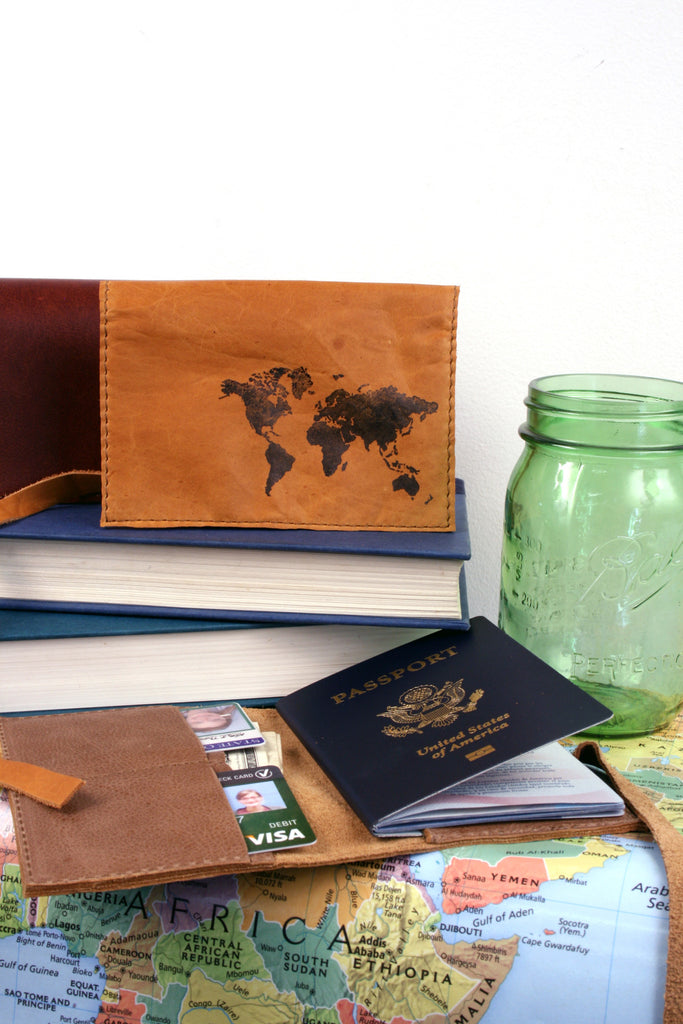leather passport cover, in blue handmade, custom leather, travel, monogram
