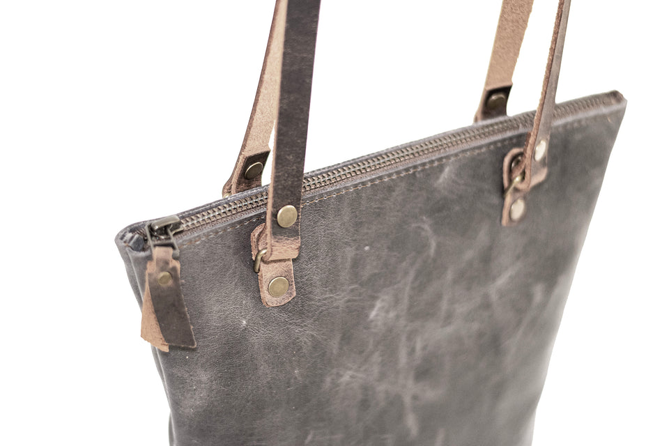 Made in USA Classic Handmade Leather Tote Bag with Zipper Small