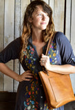 Handmade Classic Leather Tote Bag Small,  - In Blue Handmade