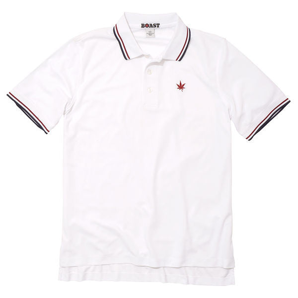 Tipped Court Polo - White with Burgundy and Navy Tipping