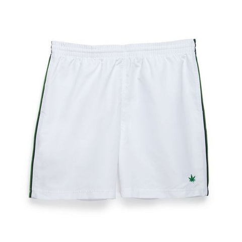 "Double Piped 7"" Court Short - White with Kelly Green and Navy Tipping"