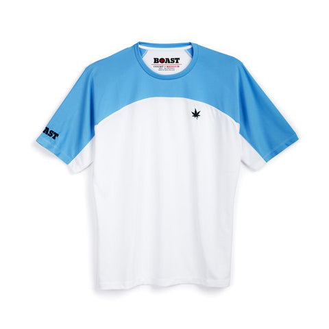 Colorblock Court Tee - White with Carolina Blue