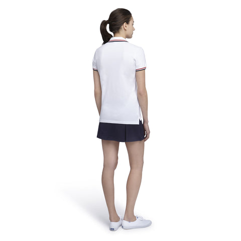 Women's Tipped Classic Polo - Navy with Double White Tipping