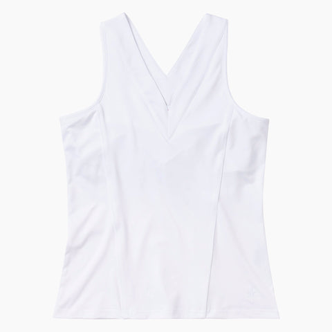 V-Neck Tennis Tank - White