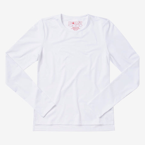Long Sleeve Jersey Tennis Tee - White