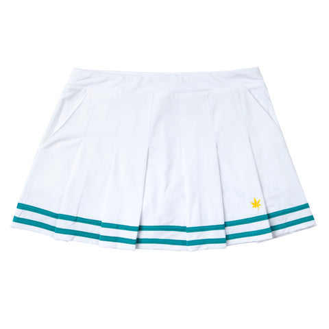 Pleated Skirt - White with Mediterranean Blue Tipping
