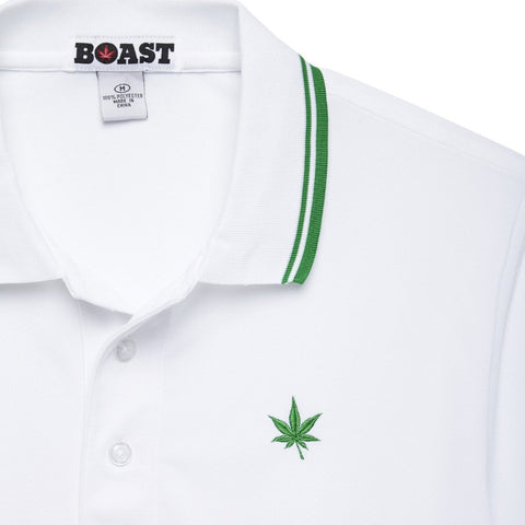 Tipped Court Polo - White with Court Green Tipping