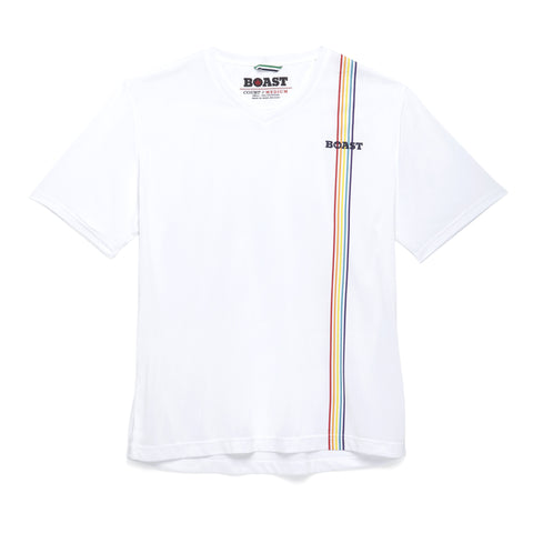 Multi Stripe V-Neck - White