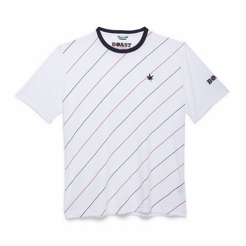 Angle Stripe Active Crew - White with Red and Navy