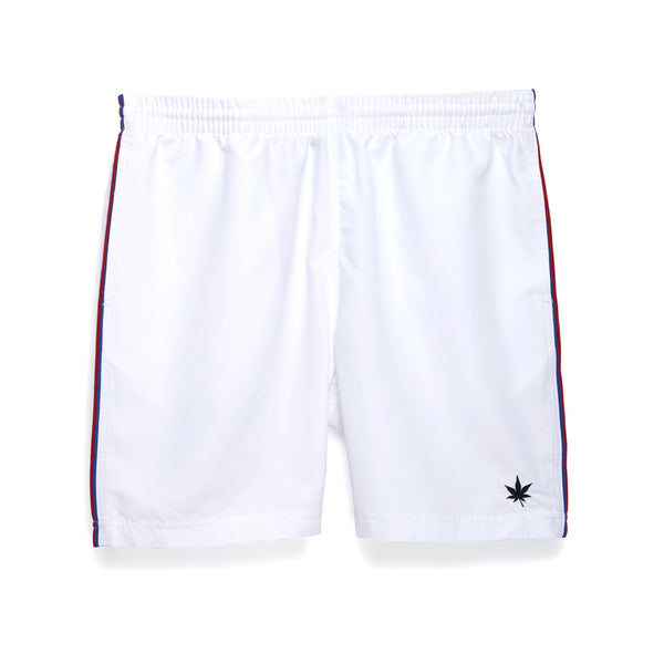 "Double Piped 7"" Court Short - White with Red and Blue Tipping"