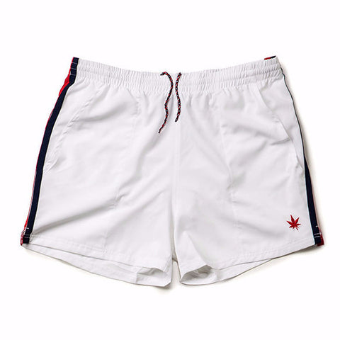 "4"" Classic Match Short in White - Red and Navy Tipping"