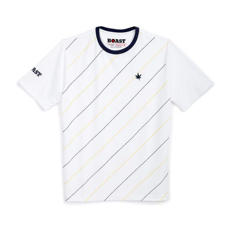 Angle Stripe Active Crew - White with Yellow and Navy