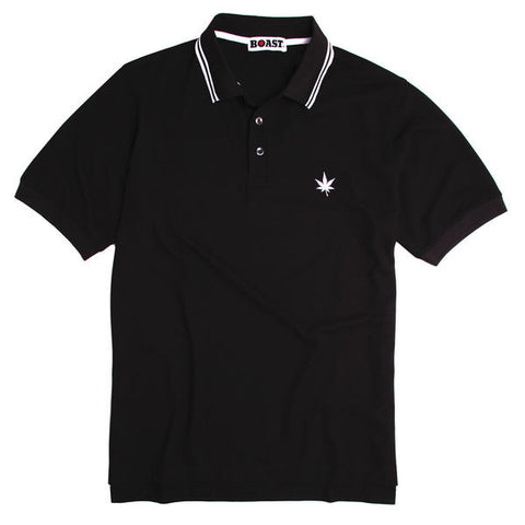 Tipped Court Polo - Black with Double White Tipping