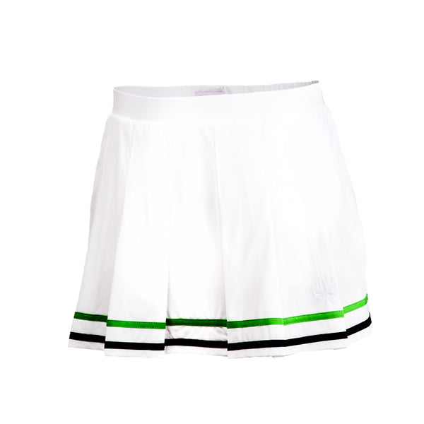 Pleated Tennis Skirt - White with Green and Navy Tipping