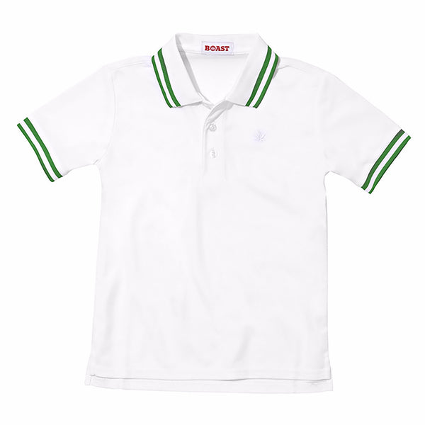 Boy's Tipped Court Polo - White with Fern Green