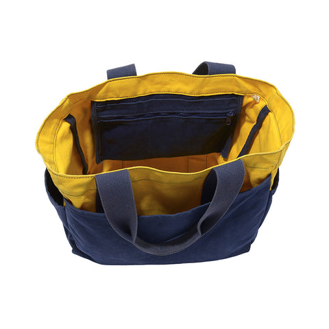 Navy and Yellow Tote Bag