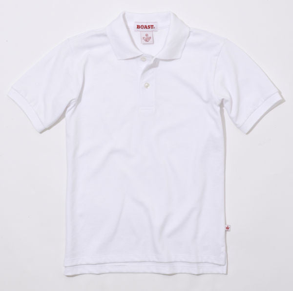 Boy's Solid Cotton Polo - White