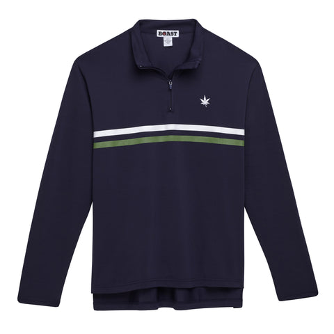 Men's Court Quarter Zip with Chest Stripe - Navy