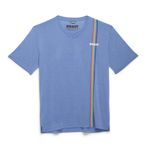 Multi Stripe V-Neck - Carolina Blue