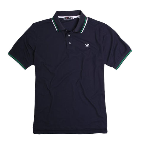 Tipped Court Polo - Navy with Kelly Green and White Tipping