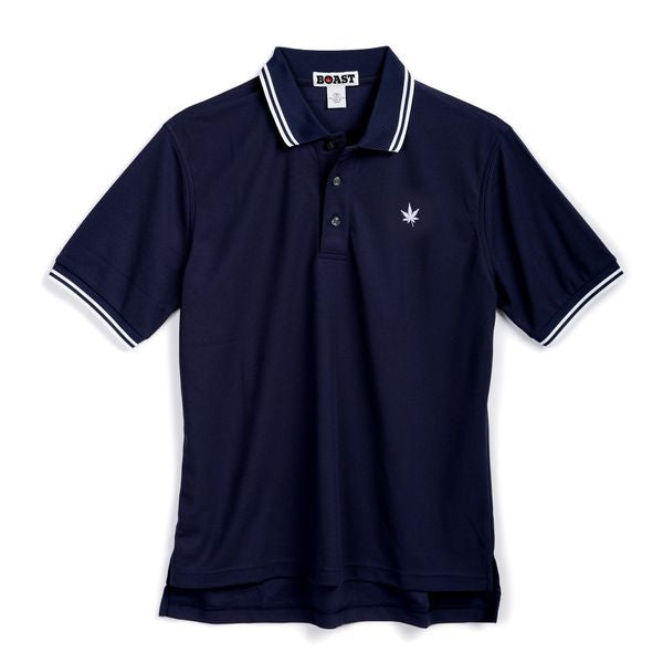 Tipped Court Polo - Navy with Double White Tipping
