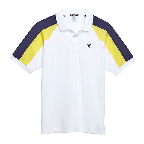 Panelled Sleeve Polo - White with Yellow and Navy