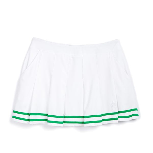 Pleated Skirt - White with Kelly Green