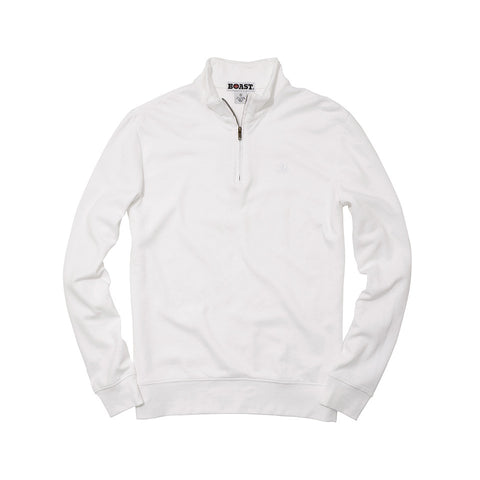 Men's Pique Double Face Quarter Zip - White