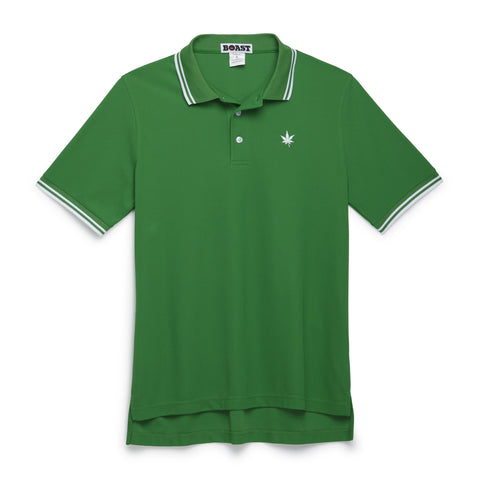 Tipped Court Polo - Court Green with White Tipping