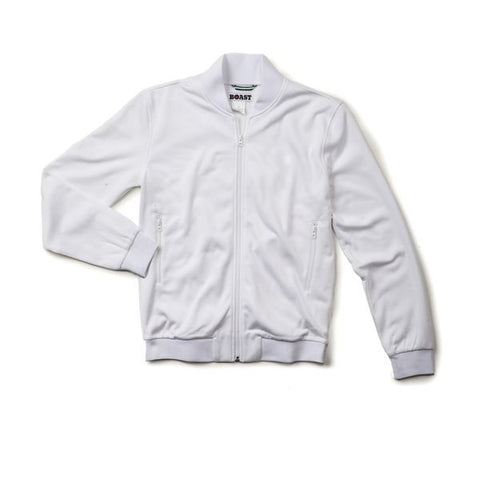 Sweat Jacket - White with White Piping