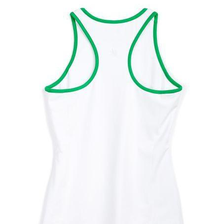 Tennis Tank - White with Kelly Green