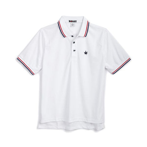 Tipped Court Polo - White with Red and Navy Tipping