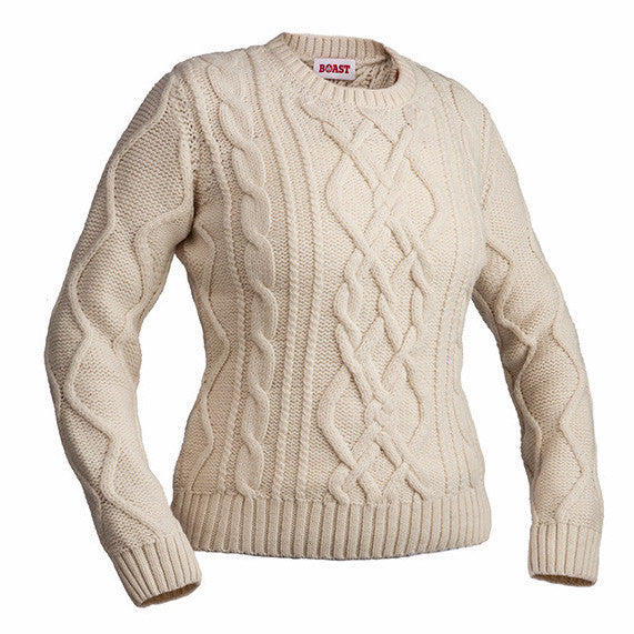 Preferred Crewneck Cable Knit Sweater in Ivory - Boast USA LK02