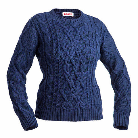 Crewneck Cable Knit Sweater - Navy