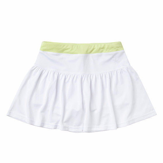 Gathered Tennis Skirt in White with Sunny Lime