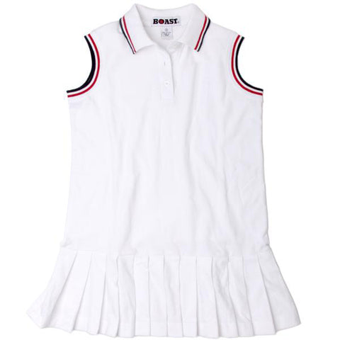 Girls' Tipped Pique Polo Pleated Tennis Dress - BLANK
