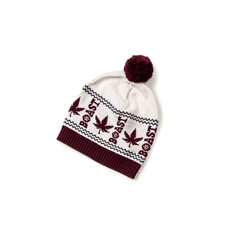 Intarsia Hat in White