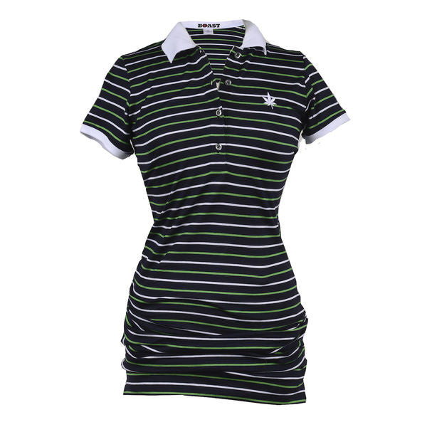 Jersey Polo Dress - Navy with Green & White