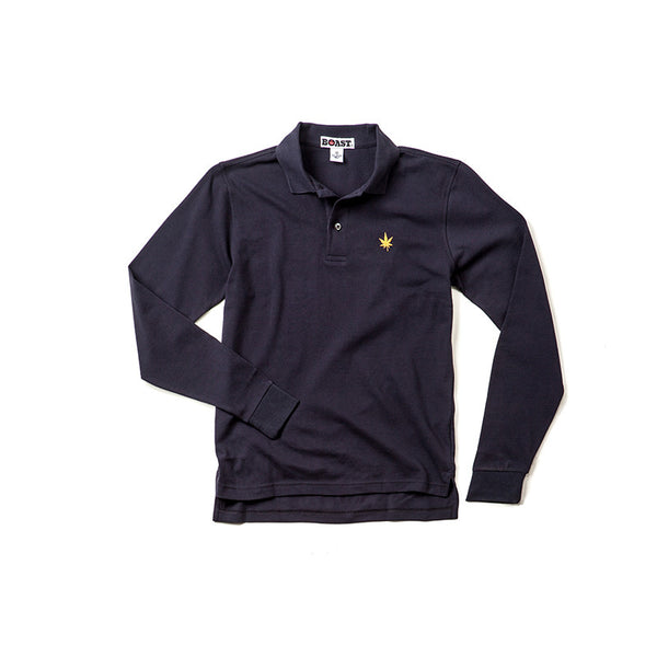 Long Sleeve Solid Pique Polo - Navy