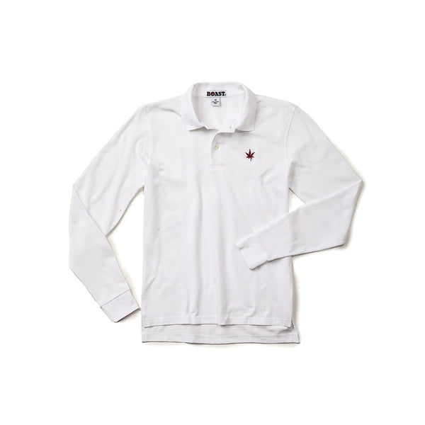 Long Sleeve Solid Pique Polo - White