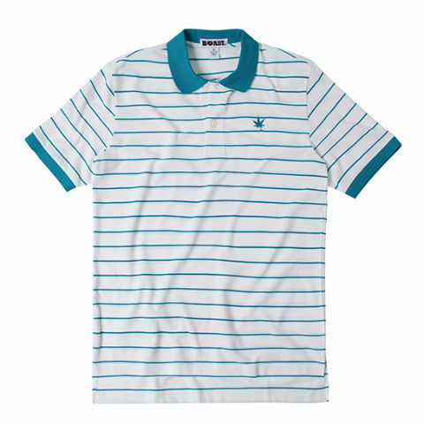 Boy's Pinstripe Pique Polo - White with Mediterranean Blue
