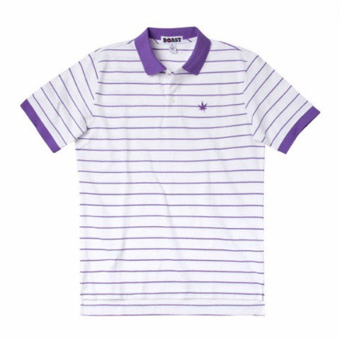 Boy's Pinstripe Pique Polo - White with Purple