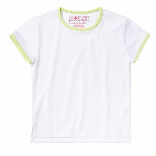 Short Sleeve Tennis Dobby Tee - White with Sunny Lime