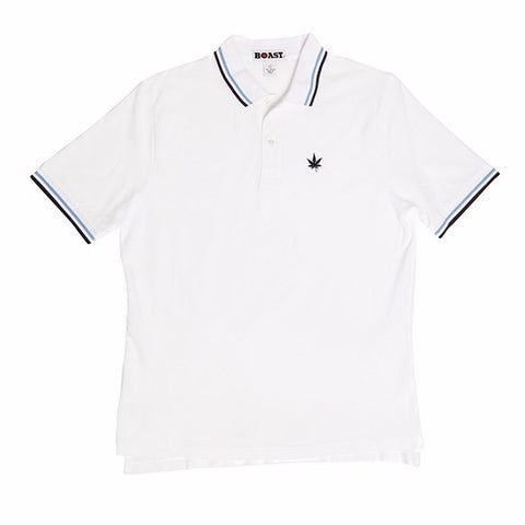 Tipped Classic Polo - White with Carolina Blue and Navy Tipping