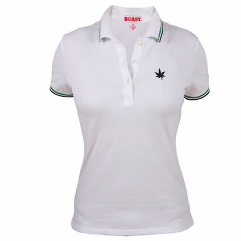Tipped Classic Polo - White with Kelly Green  Navy Tipping