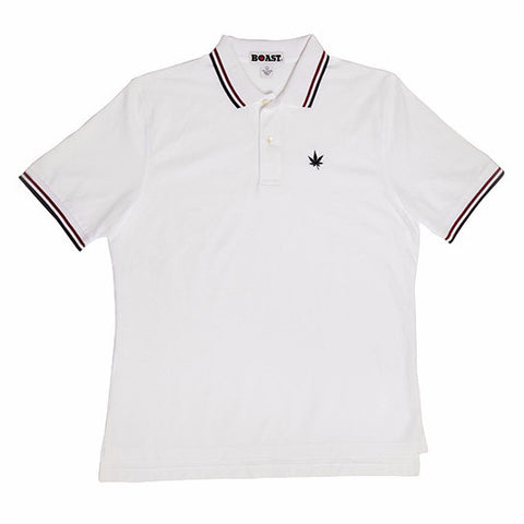 Tipped Classic Polo - White with Navy and Burgundy Tipping