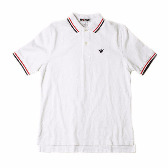Tipped Classic Polo - White with Red and Navy Tipping