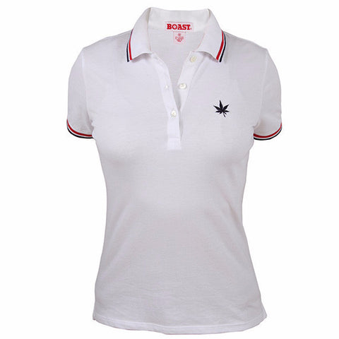 Tipped Classic Polo - White with Red Navy Tipping