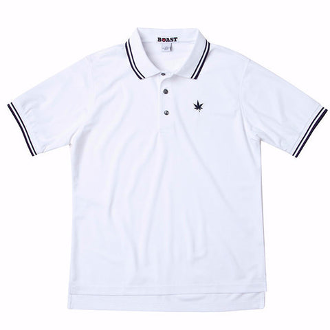 Tipped Court Polo - White with Double Navy Tipping